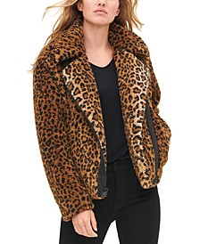 Women's All Over Leopard Print Sherpa Motorcycle Jacket