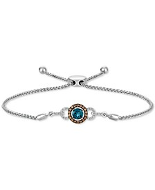 Deep Sea Blue Topaz (3/8 ct. t.w.) & Diamond (1/4 ct. t.w.) Bolo Bracelet in 14k White Gold