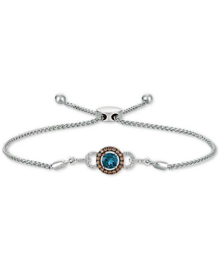 Le Vian - Deep Sea Blue Topaz (3/8 ct. t.w.) & Diamond (1/4 ct. t.w.) Bolo Bracelet in 14k White Gold