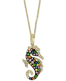 """EFFY® Multi-Gemstone (7/8 ct. t.w.) and Diamond (1/5 ct. t.w.) Seahorse 18"""" Pendant Necklace in 14k Gold"""