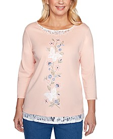 Pearls of Wisdom Butterfly Embroidered Lace-Trimmed Top