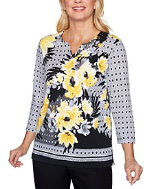 Riverside Drive Split-Neck Mixed-Print Top