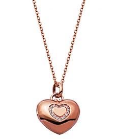 Gold-Tone Cubic Zirconia Heart Locket Necklace in Fine Silver Plate