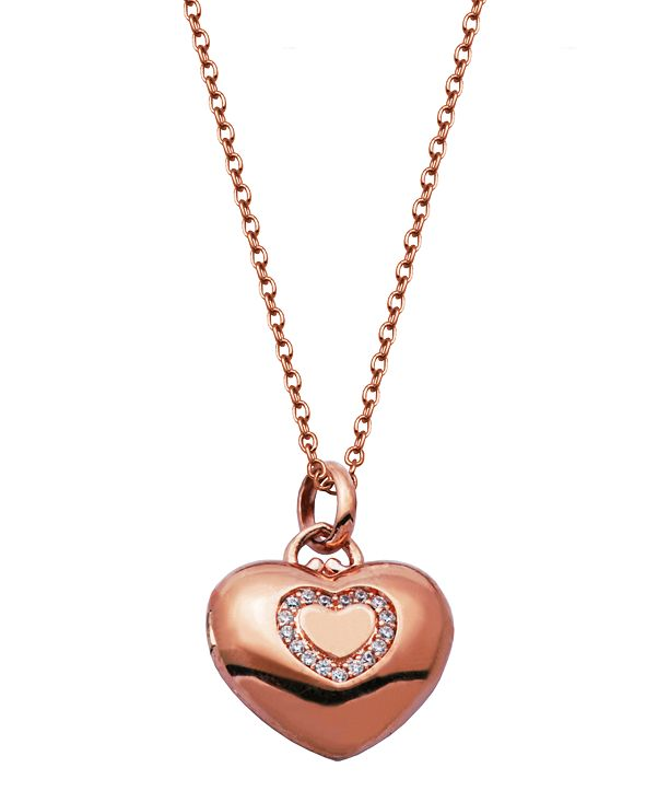 Macy's Gold-Tone Cubic Zirconia Heart Locket Necklace in Fine Silver Plate
