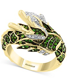 EFFY® Tsavorite (3/4 ct. t.w.) & Diamond (1/5 ct. t.w.) Dragon Statement Ring in 14k Gold