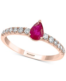 EFFY® Certified Ruby (1/2 ct. t.w.) & Diamond (1/2 ct. t.w.) Statement Ring in 14k Rose Gold