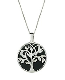 Magnifying Glass & Mirror Pendant Black & Silver-Tone Tree Necklace, 38""