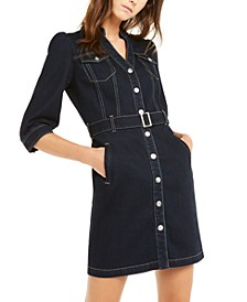 INC Belted Denim Shirtdress, Created for Macy's