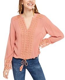 Juniors' Crocheted Lace-Detail Blouse