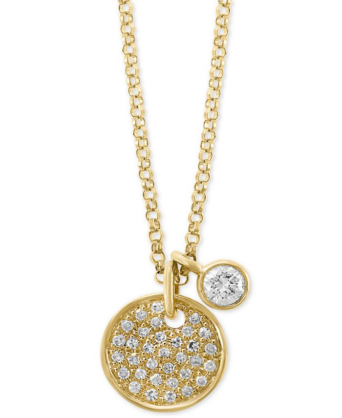 """EFFY Collection - Diamond Charm and Circular 18"""" Pendant Necklace (1/4 ct. t.w.) in 14k Gold"""