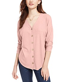 Hippie Rose Juniors' Tie-Front Button-Up Top