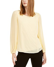 Petite Pleated-Sleeve Top, Created For Macy's