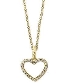 "EFFY® Diamond Open Heart 18"" Pendant Necklace (1/10 ct. t.w.) in 14k Gold"