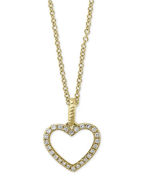"""EFFY Collection EFFY® Diamond Open Heart 18"""" Pendant Necklace (1/10 ct. t.w.) in 14k Gold"""