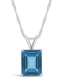 Blue Topaz (3  ct. t.w.) Pendant Necklace in Sterling Silver. Also Available in Amethyst and Citrine