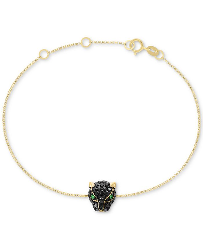 EFFY Collection - Diamond (3/8 ct. t.w.) & Tsavorite Accent Panther Charm Bracelet in 14k Gold