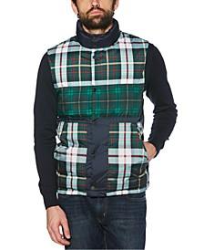Men's Plaid Patchwork Puffer Vest