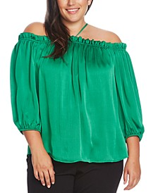 Plus Size Off-Shoulder Halter Top