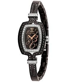 Women's Swiss Diamond (1-1/4 ct. t.w.) Black Stainless Steel Semi-Bangle Bracelet Watch 25.7x20.4mm