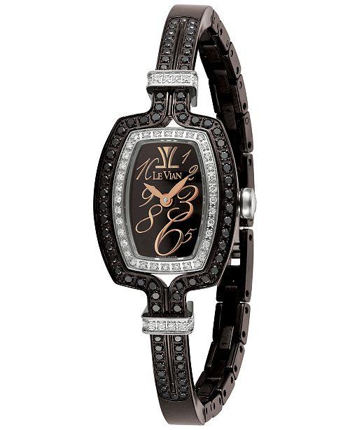 Le Vian Women's Swiss Diamond (1-1/4 ct. t.w.) Black Stainless Steel Semi-Bangle Bracelet Watch 25.7x20.4mm