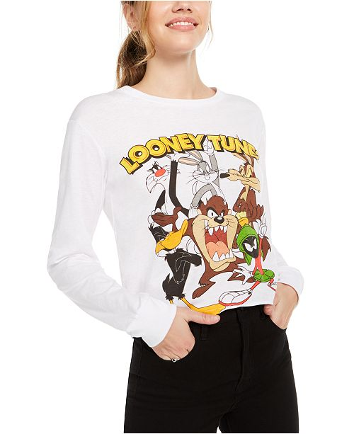 Warner Brothers Juniors' Looney Tunes Graphic Print Long-Sleeve T-Shirt