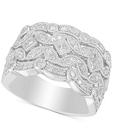 Diamond Filigree Statement Ring (3/4 ct. t.w.) in Sterling Silver