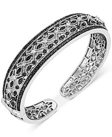 Diamond Hinge Cuff Bangle Bracelet (1-1/2 ct. t.w.) in Sterling Silver