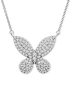 """Diamond Butterfly 16"""" Pendant Necklace (1 ct. t.w.) in 14k White Gold"""