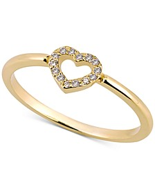 Diamond (1/20 ct. t.w.) Open Heart Ring in 14k Gold Over Sterling Silver