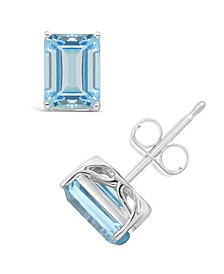 Sky Blue Topaz (3-9/10 ct. t.w.) Stud Earrings in Sterling Silver. Also Available in Rose Quartz (3-1/8 ct. t.w.)
