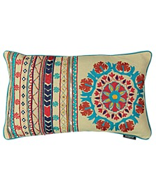 """Tribal Chic Collection Santa Fe Embroidery Lumbar Pillow, 20"""" X 20"""""""