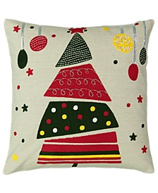 "Christmas Collection Christmas Tree Applique Embroidery Pillow, 18"" X 18"""