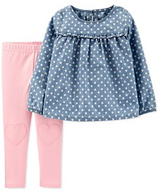 Toddler Girls 2-Pc. Heart-Print Chambray Top & Leggings Set
