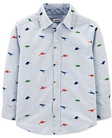 Toddler Boys Cotton Striped Dinosaur-Print Oxford Shirt