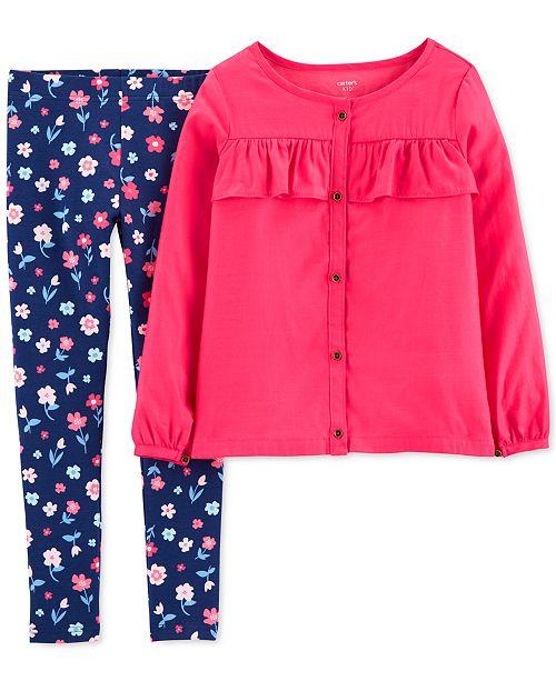 Carter's Little & Big Girls 2-Pc. Button-Front Sateen Top & Floral-Print Leggings Set