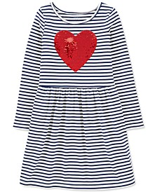 Little Girls Reversible Sequin Heart Striped Jersey Dress