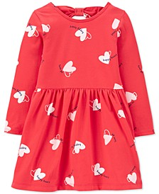 Toddler Girls Heart-Print Bow-Back Jersey Dress