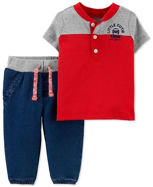 Carter's Baby Boys 2-Pc. Henley T-Shirt & Jogger Pants Set