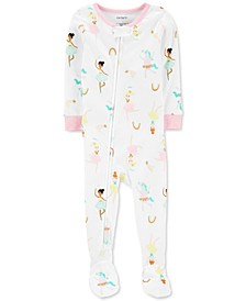 Baby Girls Cotton 1-Pc. Ballerina-Print Footie Pajama
