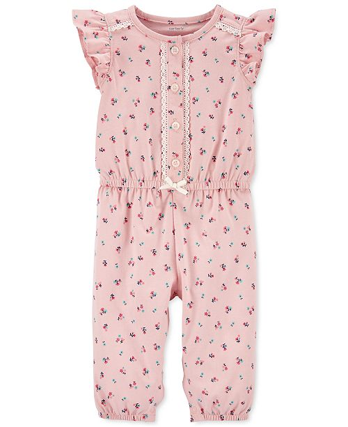 Carter's Baby Girls Floral-Print Cotton Jumpsuit