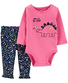Baby Girls 2-Pc. Cotton Dinosaur Bodysuit & Pants Set