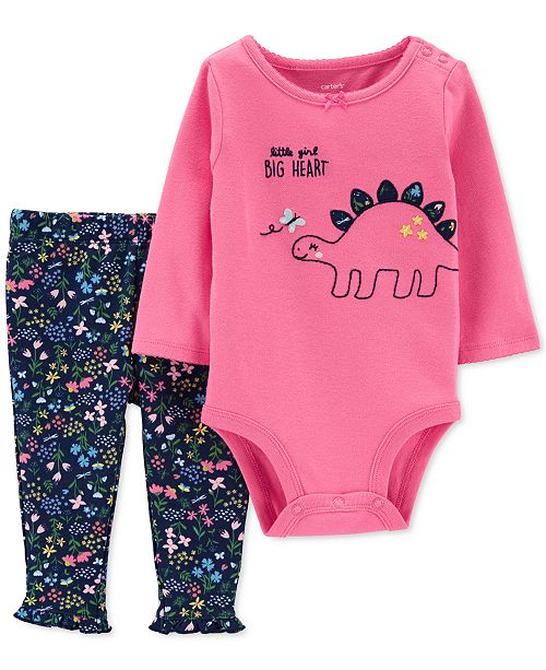 Carter's Baby Girls 2-Pc. Cotton Dinosaur Bodysuit & Pants Set