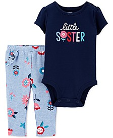 Baby Girls 2-Pc. Cotton Little Sister Bodysuit & Pants Set