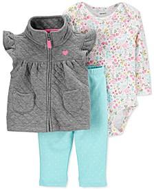 Baby Girls 3-Pc. Quilted Vest, Printed Bodysuit & Leggings Set