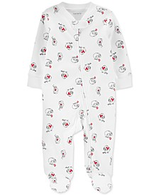 Baby Boys Cotton Sloth Heart Coverall