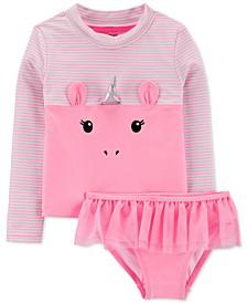 Baby Girls 2-Pc. Unicorn Rash Guard Set