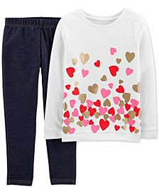 Little & Big Girls 2-Pc. Glitter Hearts Top & Knit Denim Pants Set