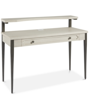 Air a look in a youngsters bedroom that speaks of subdued classic-meets-transitional style with this desk. Finished in a crisp alabaster-tone, its framed drawer front can lend any bedroom workspace a bright vibe that is matched by slick, minimalist grace and functional charm through a large drawer and an incorporated charging station.