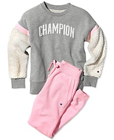 Big Girls Faux Sherpa Sweatshirt & Jogger Pants