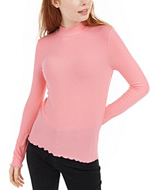 Juniors' Ribbed Mock-Neck Top